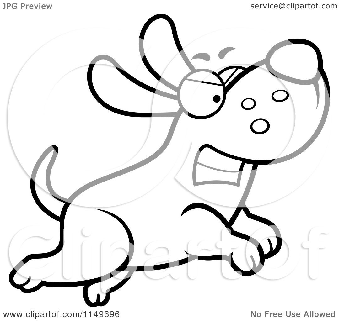 Cartoon Clipart Of A Black And White Angry Max Dog Character Chasing