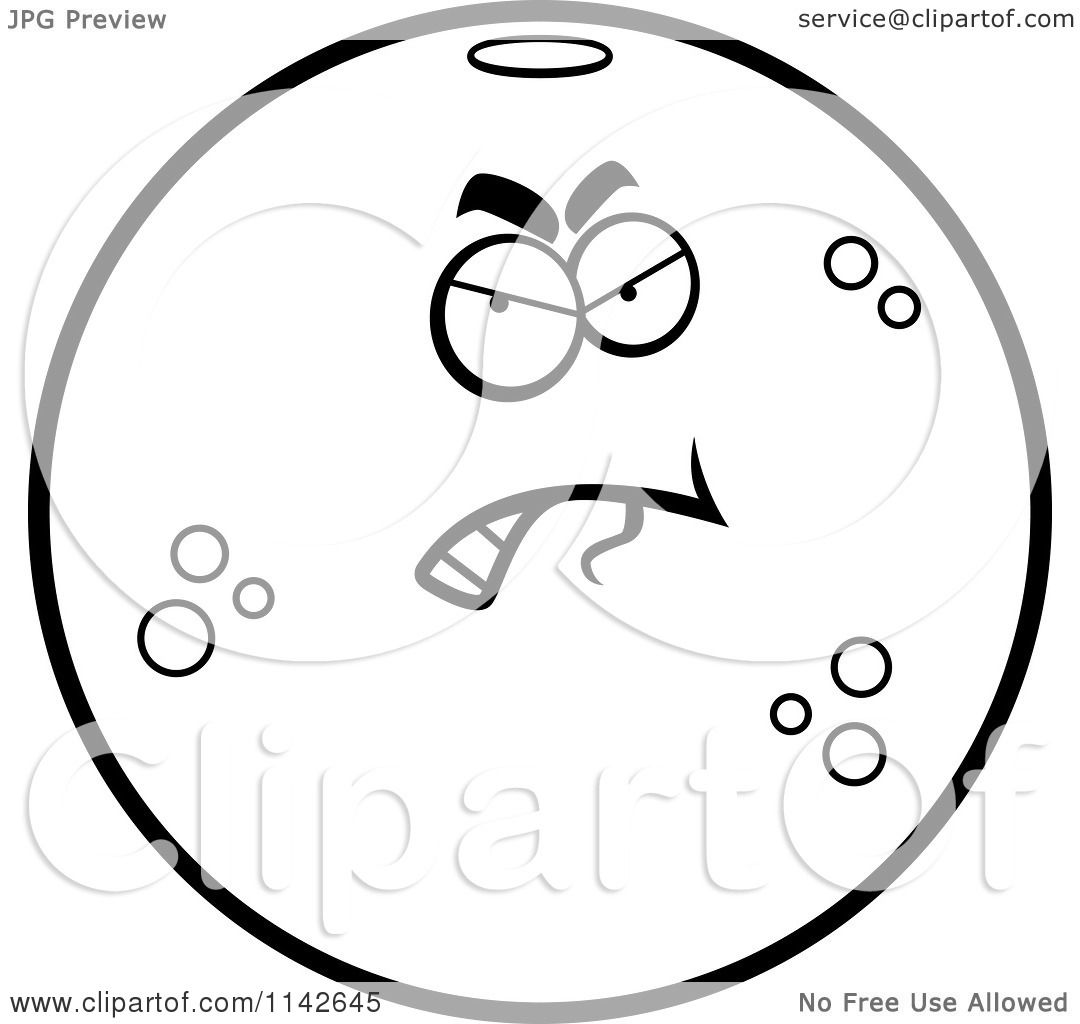 cartoon clipart of a black and white angry navel orange