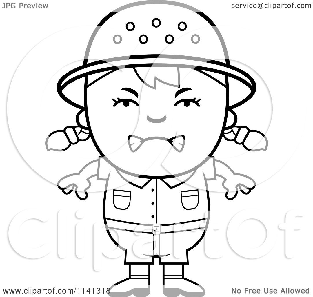 cartoon clipart of a black and white angry safari girl