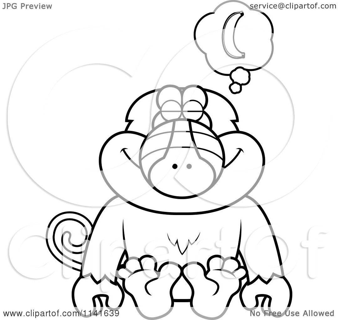 Cartoon Clipart Of A Black And White Baboon Monkey Daydreaming Of