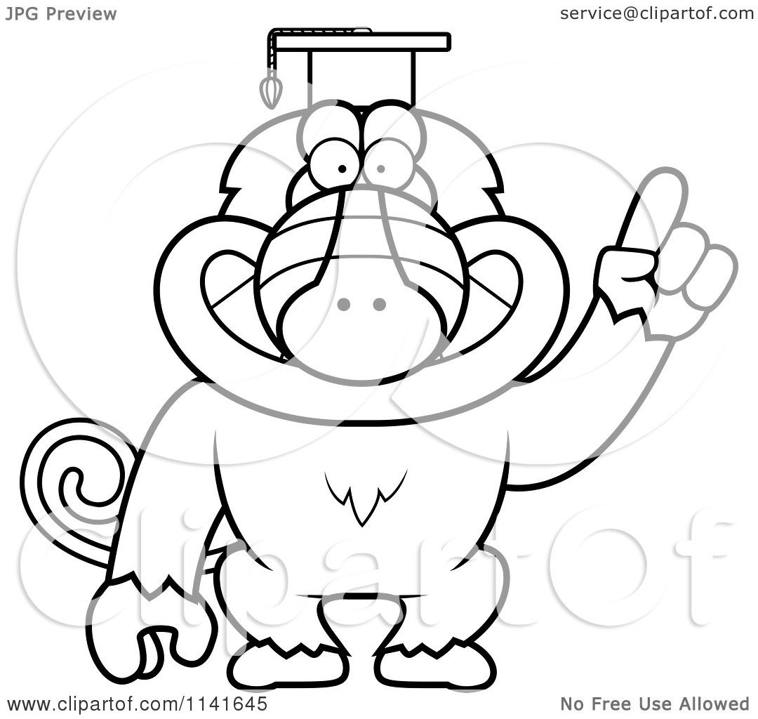 Coloring pages graduation - Cartoon Clipart Of A Black And White Baboon Monkey Wearing A Graduation Cap And Holding A Finger Up Vector Outlined Coloring Page By Cory Thoman