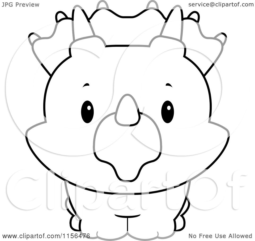 baby triceratops coloring page - cartoon clipart of a black and white baby triceratops