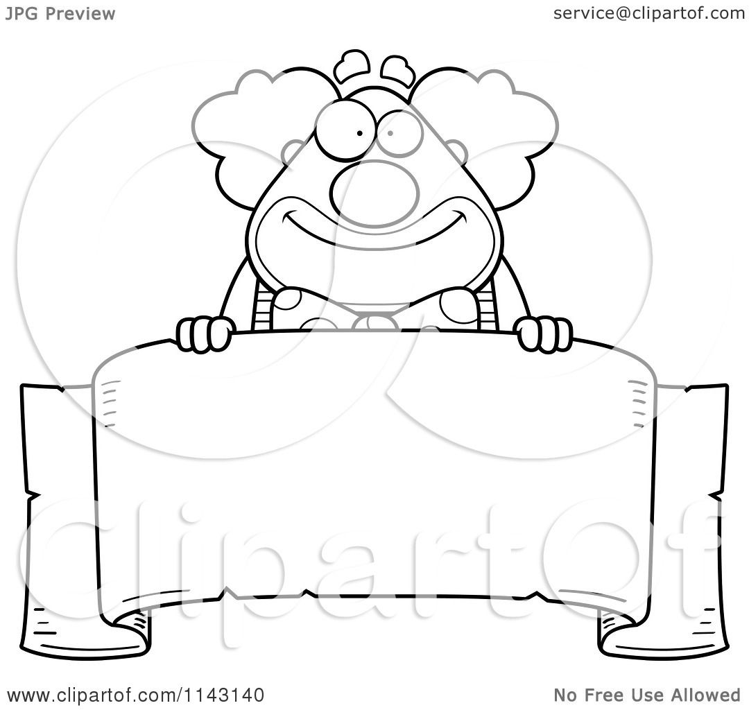 Cartoon Clipart Of A Black And White Banner And Chubby Circus Clown ...