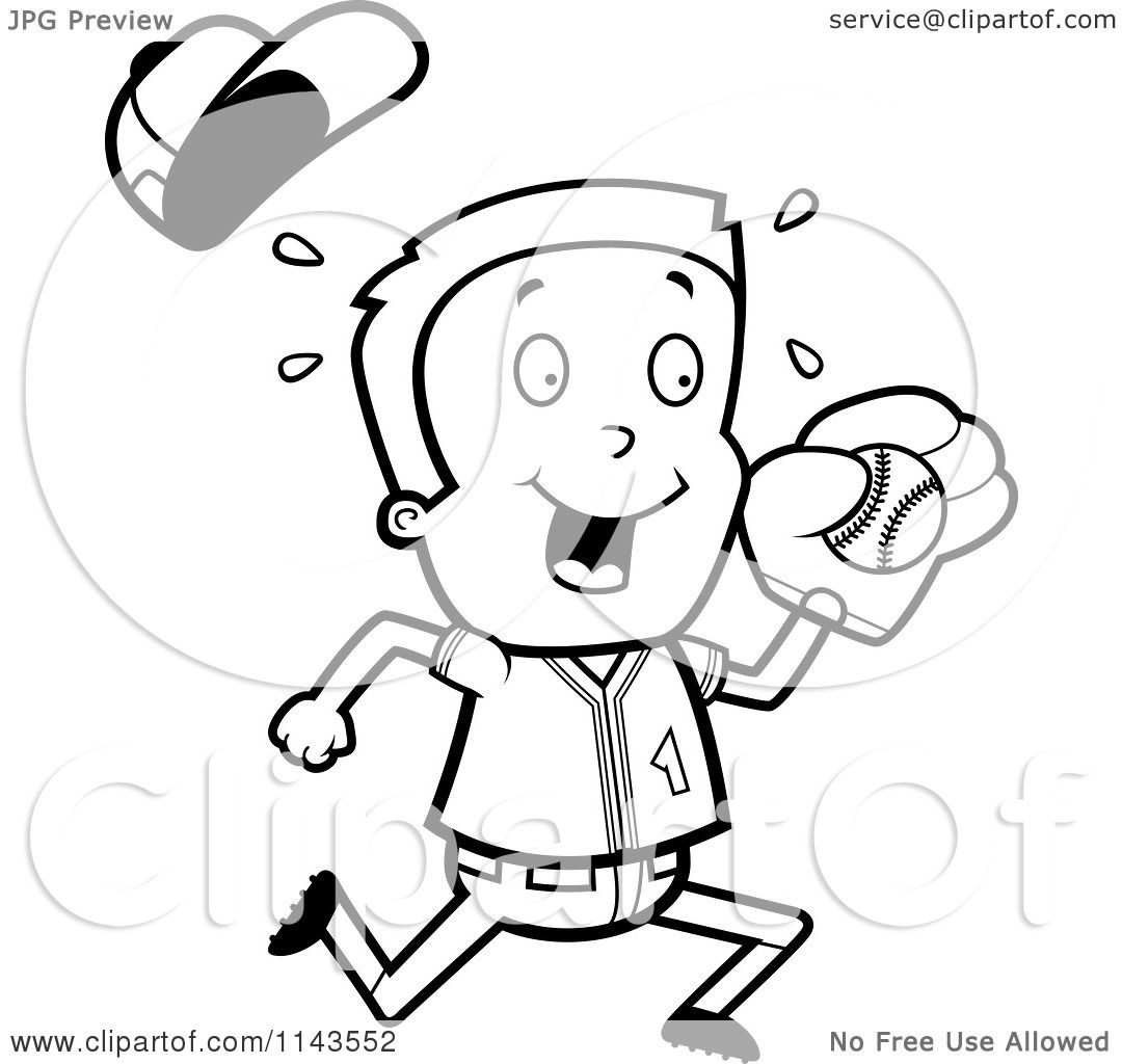 Cartoon Clipart Of A Black And White Baseball Boy Catching Ball
