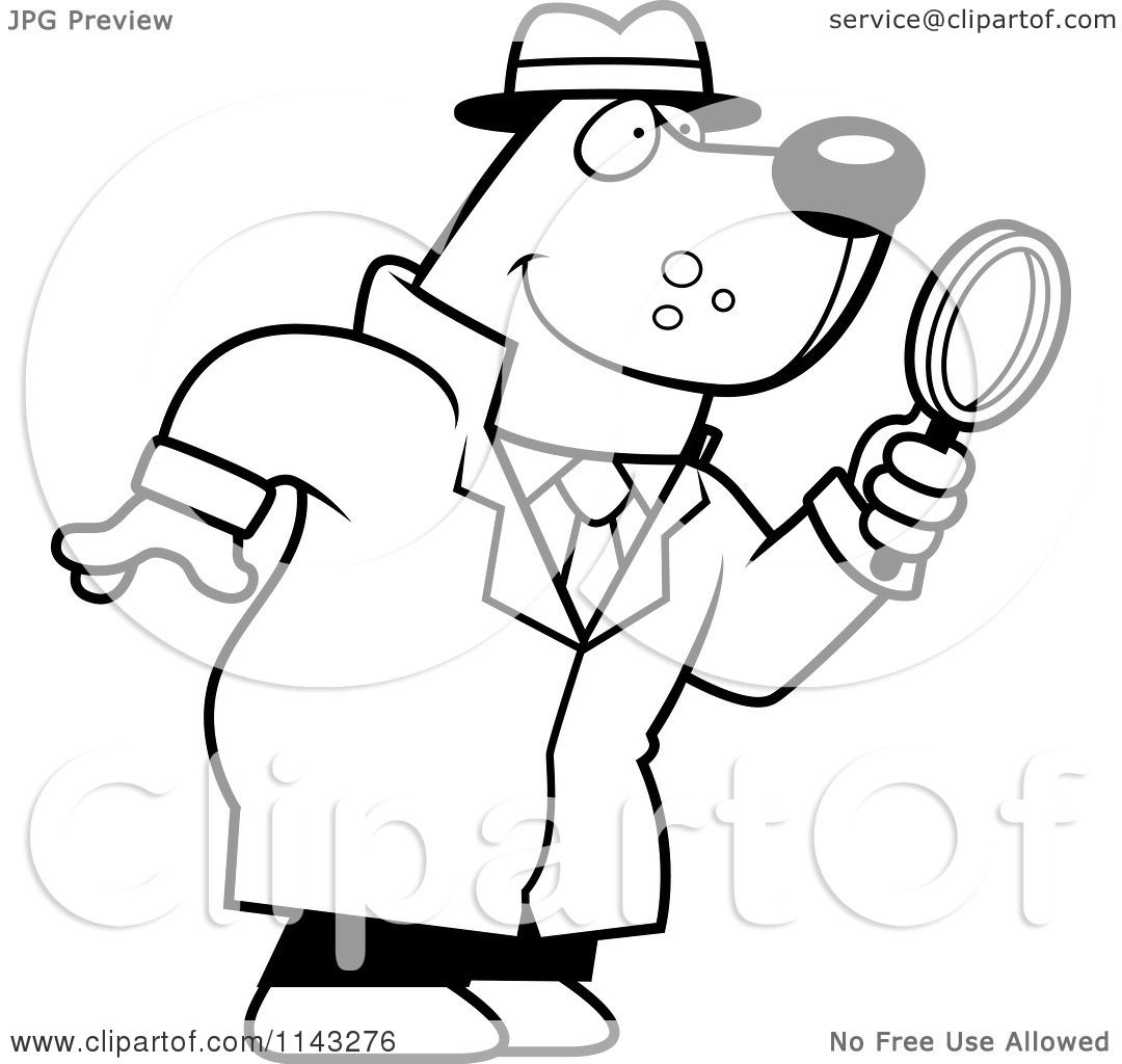 Cartoon Clipart Of A Black And White Bear Detective Using Magnifying Glass