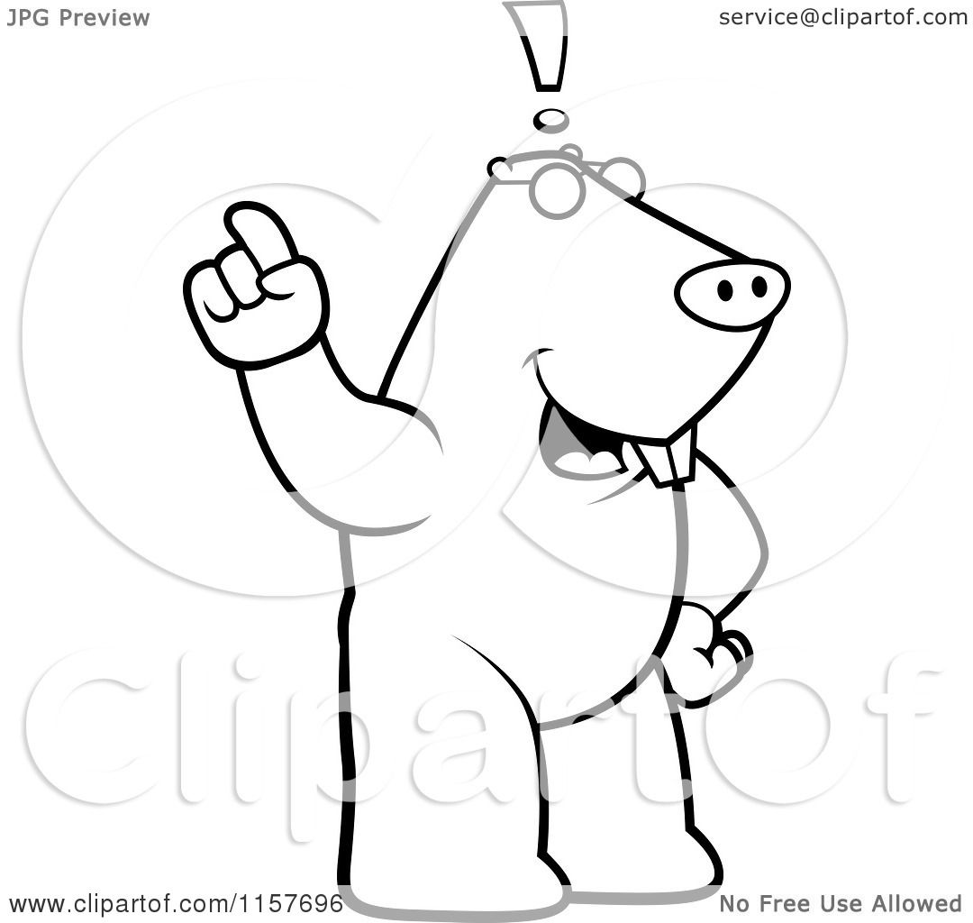 big idea coloring pages | Cartoon Clipart Of A Black And White Big Mole Standing ...