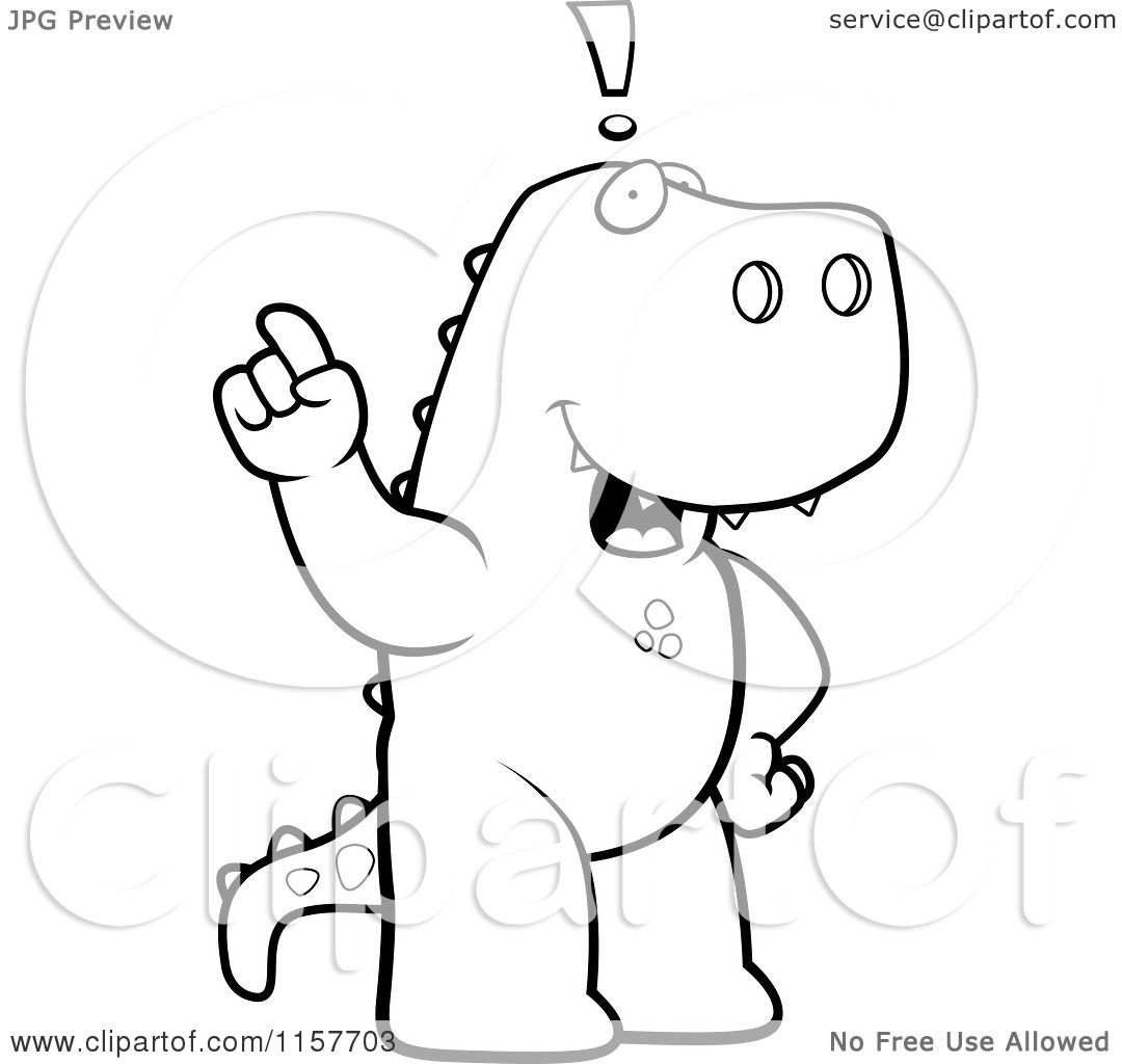 cartoon clipart of a black and white big tyrannosaurus rex