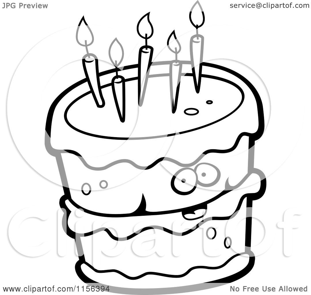 Cartoon Clipart Of A Black And White Birthday Cake Character With Five Candles