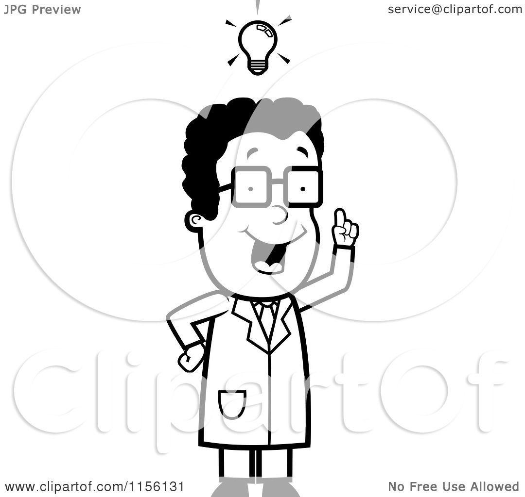 cartoon clipart of a black and white black male scientist with an