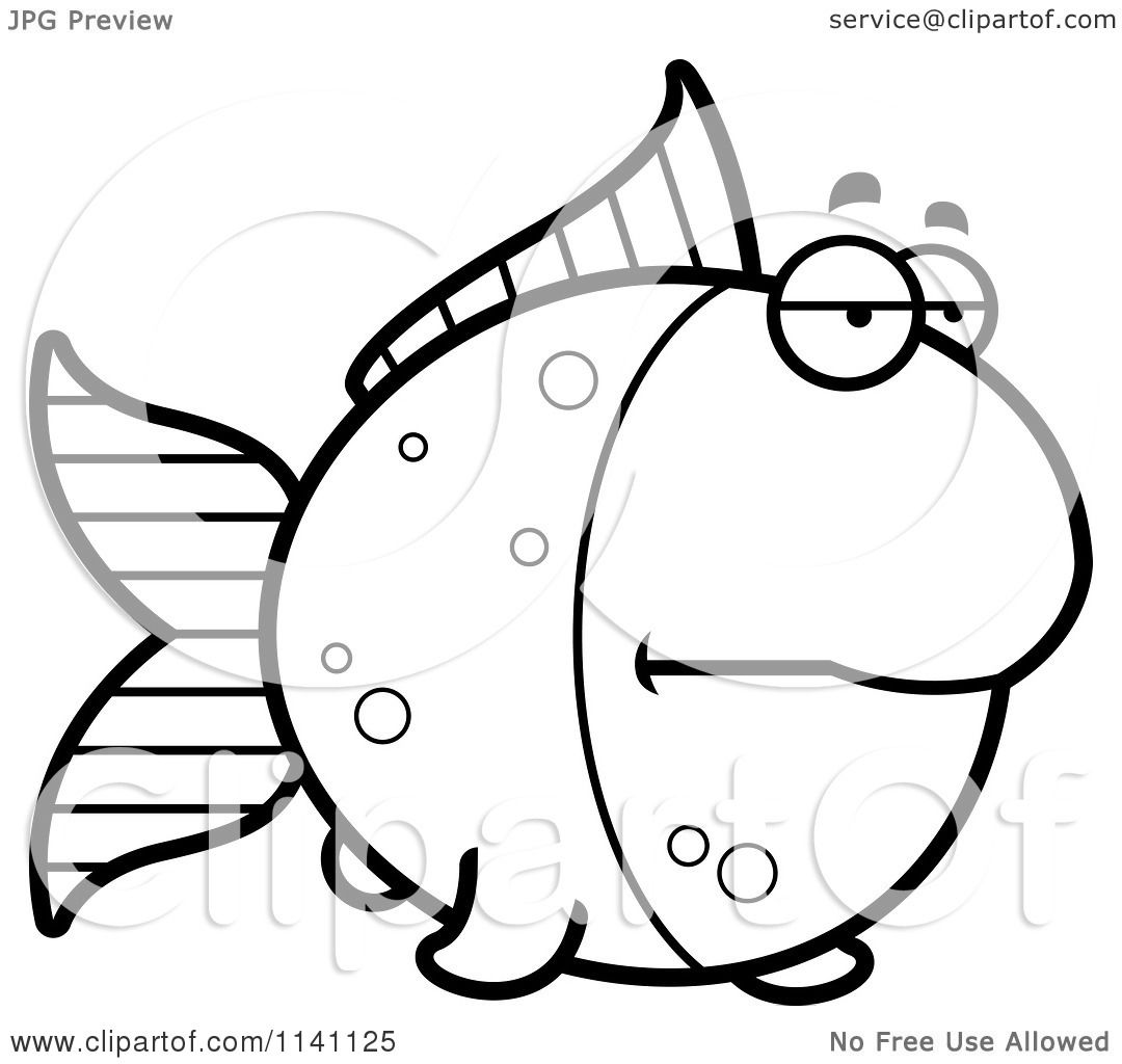 Cartoon Clipart Of A Black And White Bored Goldfish ...