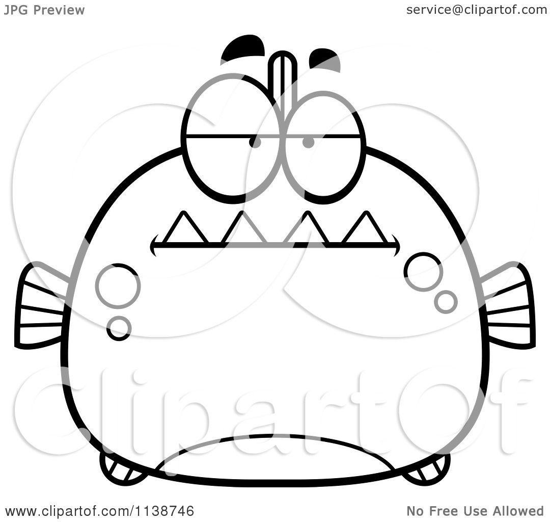 Cartoon Clipart Of A Black And White Bored Piranha Fish - Vector ...