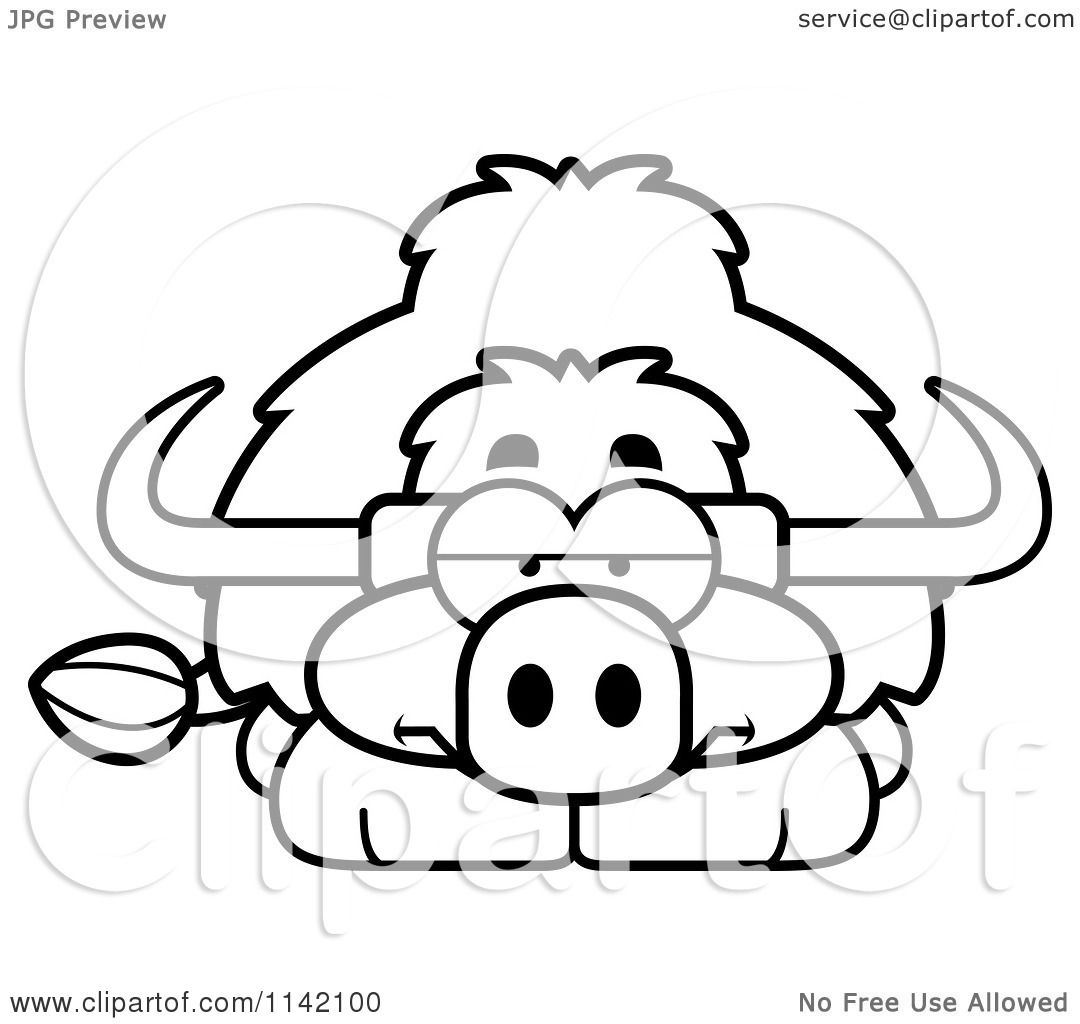 Coloring pages yak - Cartoon Clipart Of A Black And White Bored Yak Vector Outlined Coloring Page By Cory Thoman