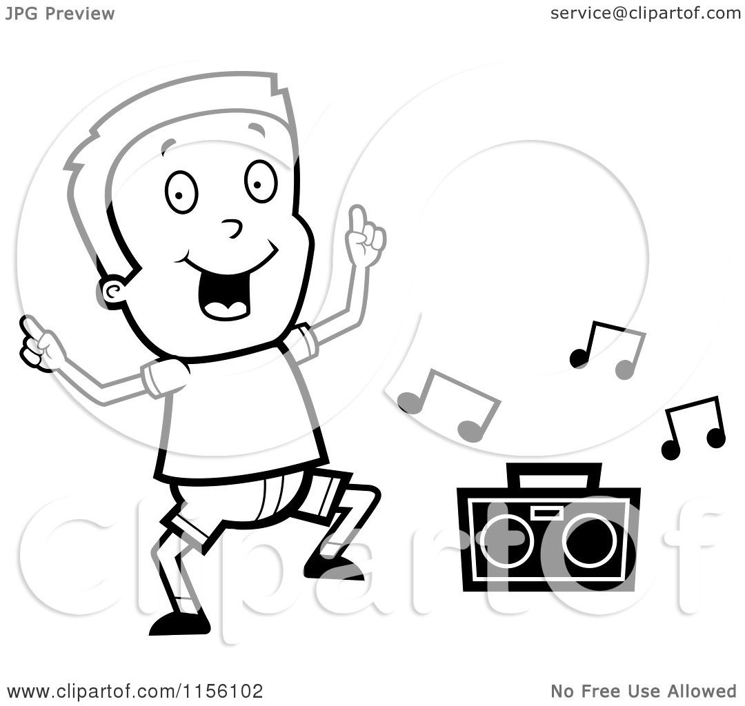 Cartoon Clipart Of A Black And White Boy Dancing to Music - Vector ...