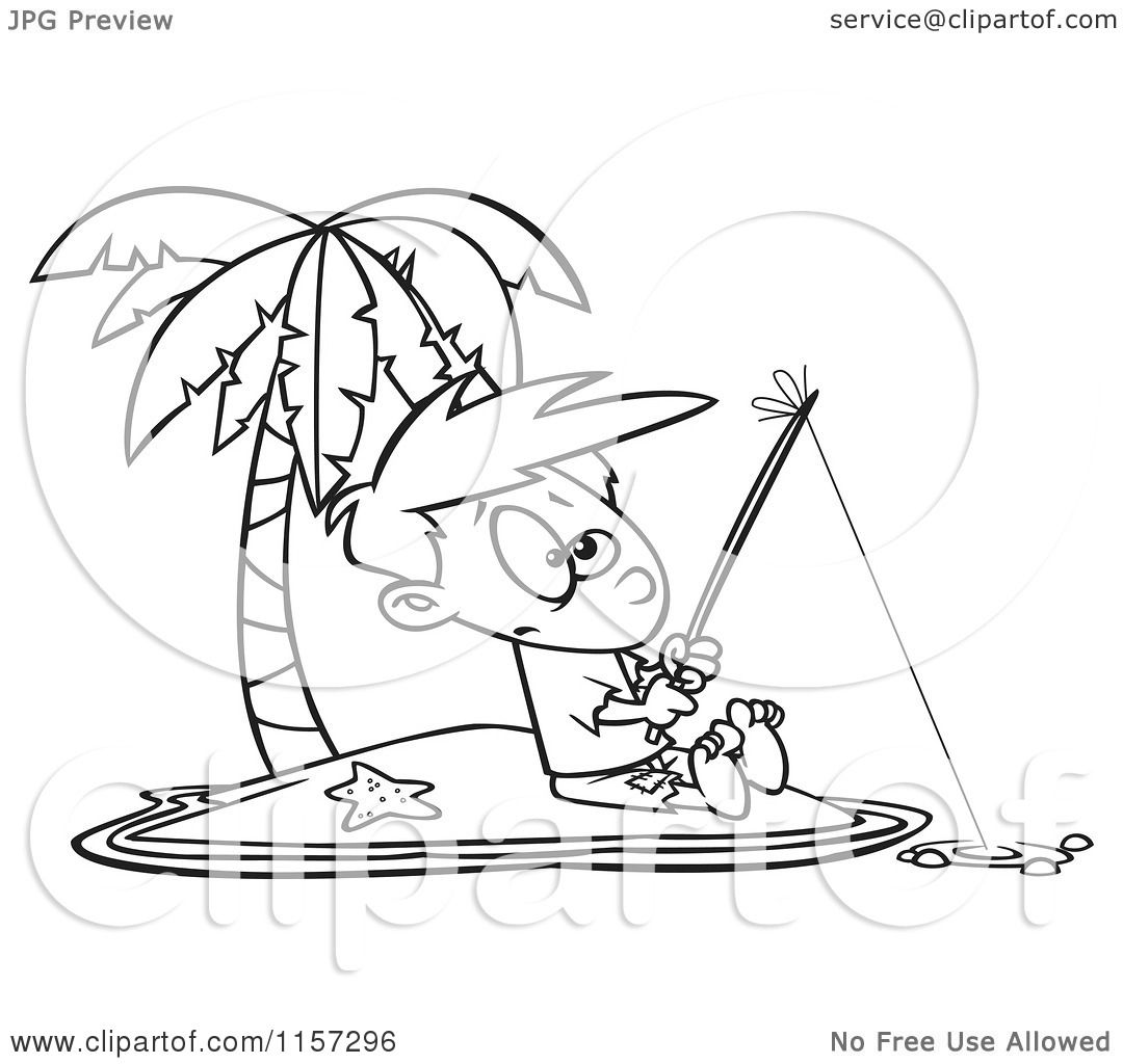 cartoon clipart of a black and white boy fishing on a tropical