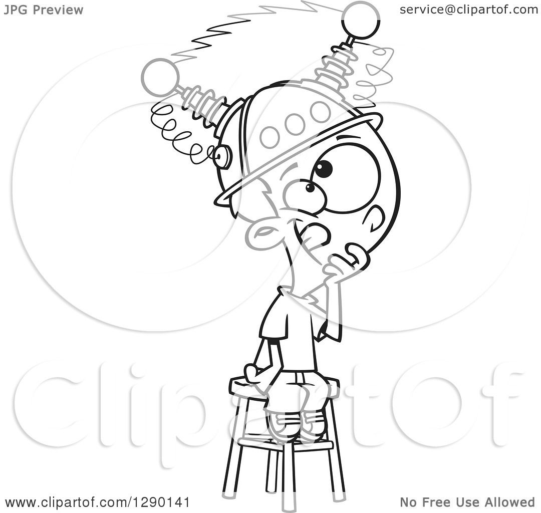 Line Art Royalty Free : Cartoon clipart of a black and white boy sitting on
