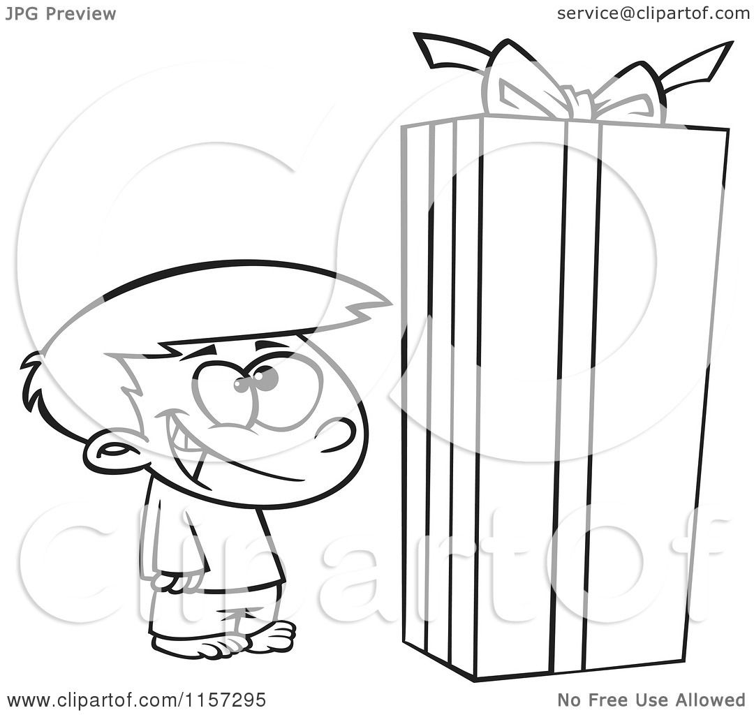 Cartoon Clipart Of A Black And White Boy Standing By A