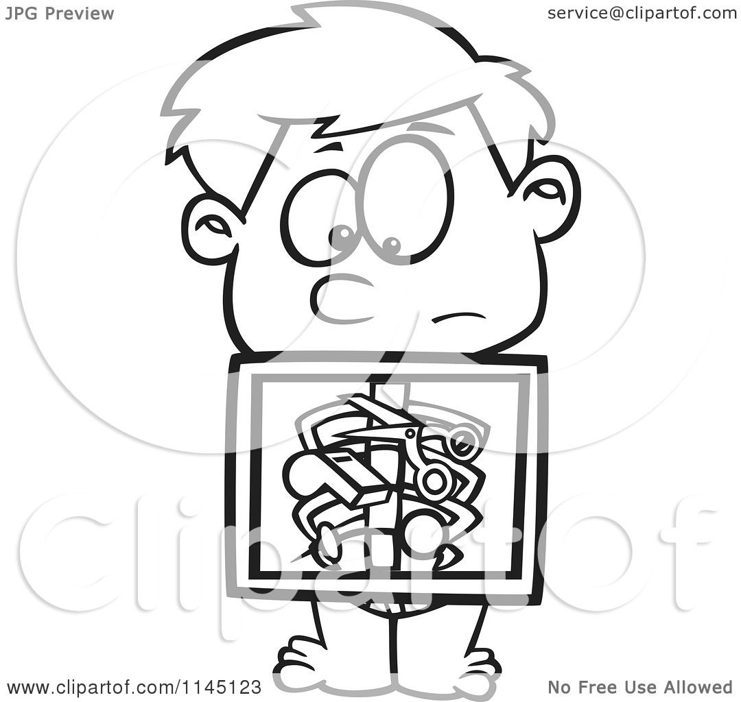 X ray coloring sheets - Cartoon Clipart Of A Black And White Boy With An Xray Showing Swallowed Items Vector Outlined Coloring Page By Ron Leishman