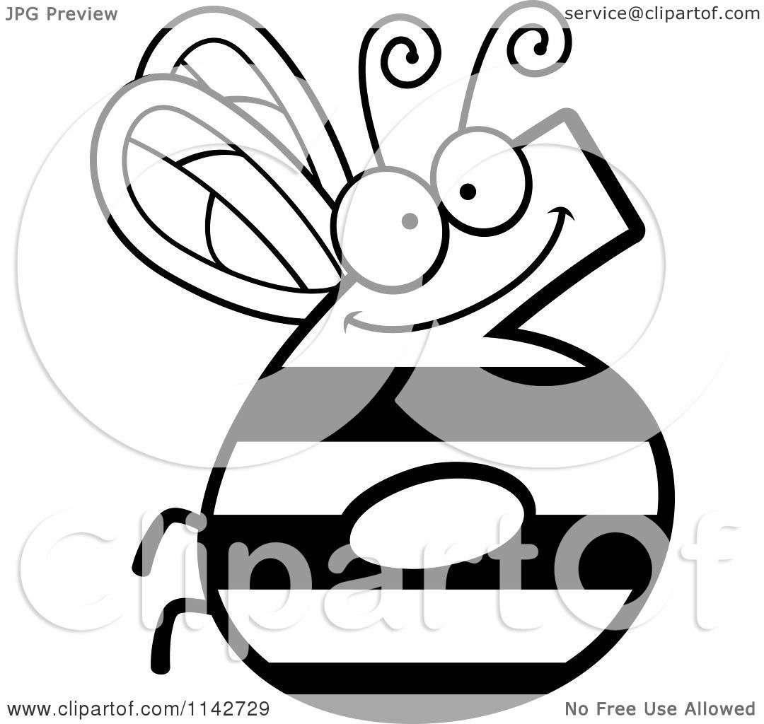 cartoon clipart of a black and white bug number 6 vector