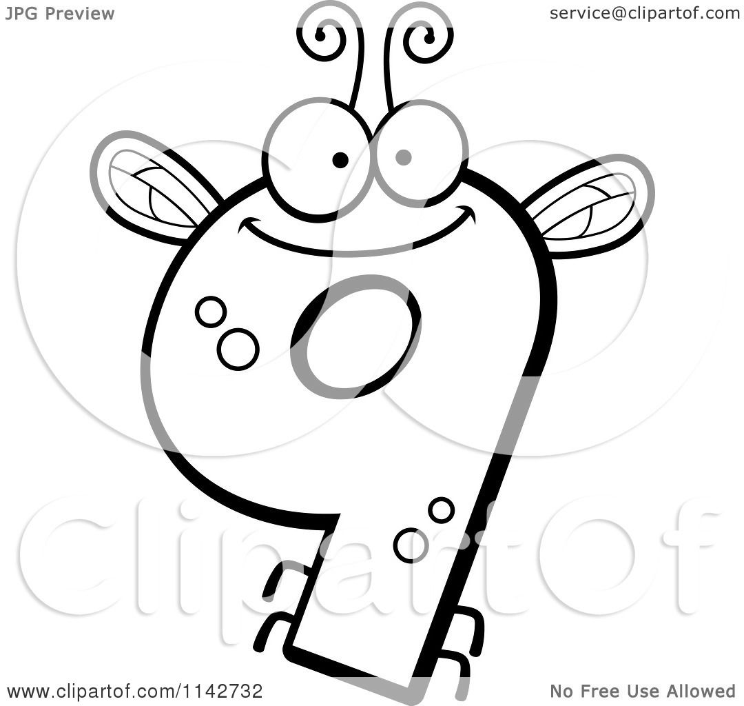 Cartoon Clipart Of A Black And White Bug Number 9 - Vector ...