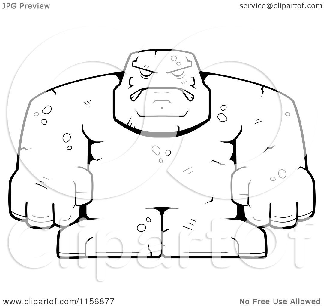 cartoon clipart of a black and white bulky stone golem man vector outlined coloring page by cory thoman