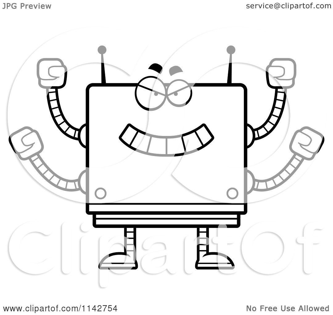 cartoon clipart of a black and white bully box robot