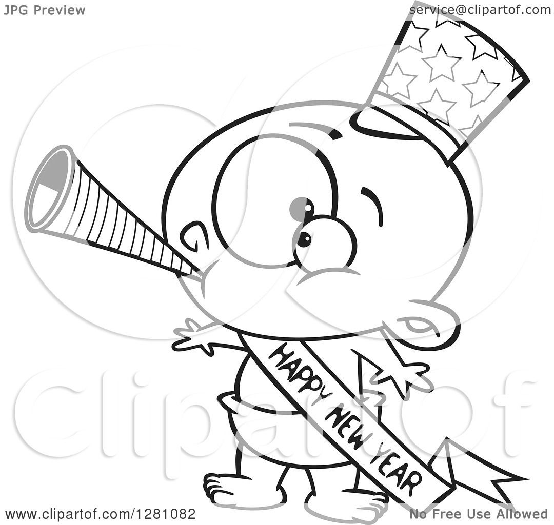 cartoon clipart of a black and white cartoon new year baby blowing a horn wearing a top hat and a banner royalty free vector illustration by toonaday