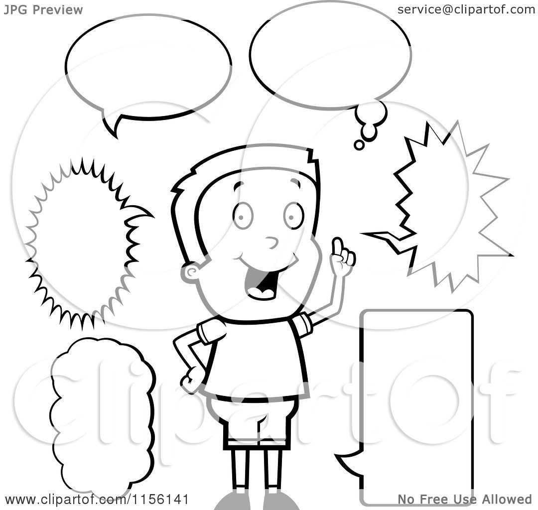 Cartoon Clipart Of A Black And White Caucasian Boy with ...