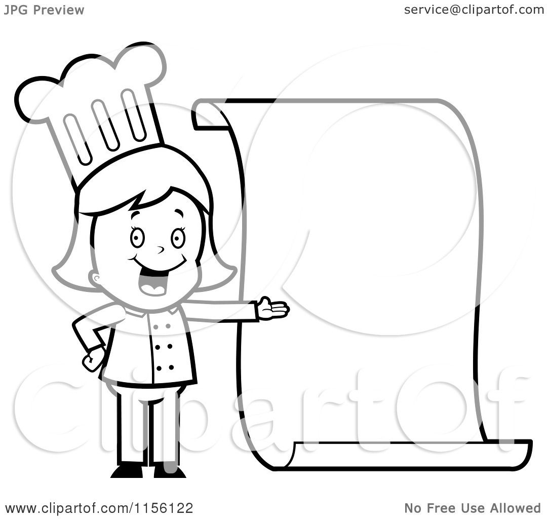 Girl Chef Coloring Page