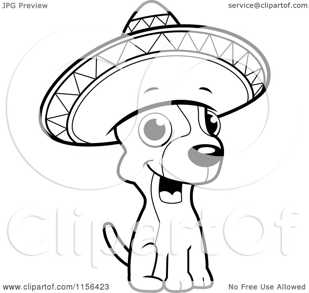 Cartoon clipart of a black and white chihuahua sitting and for Chihuahua coloring pages free