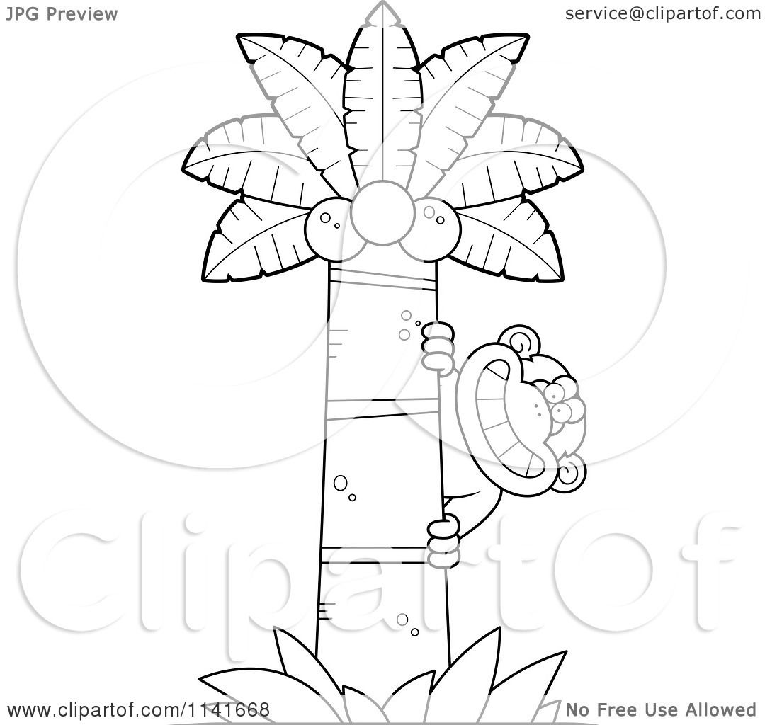 cartoon clipart of a black and white chimpanzee behind a palm tree