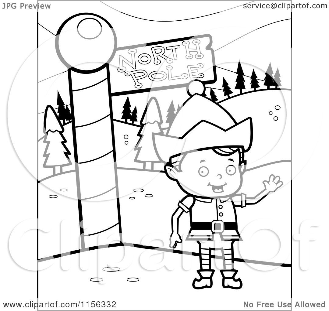 cartoon clipart of a black and white christmas elf boy waving by