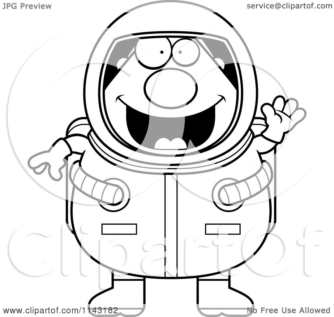 cartoon clipart of a black and white chubby astronaut waving