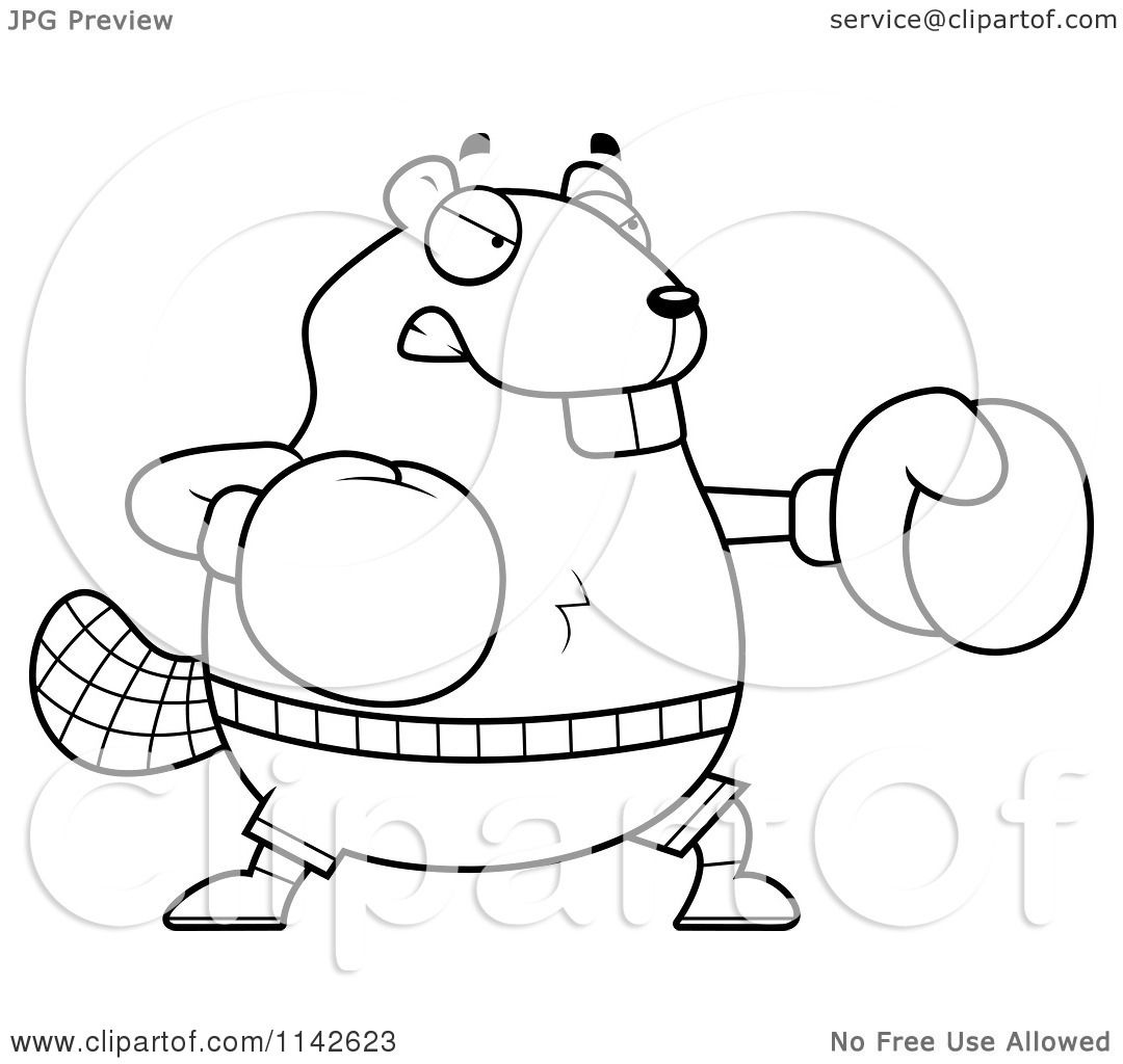 cartoon clipart of a black and white chubby beaver boxing vector