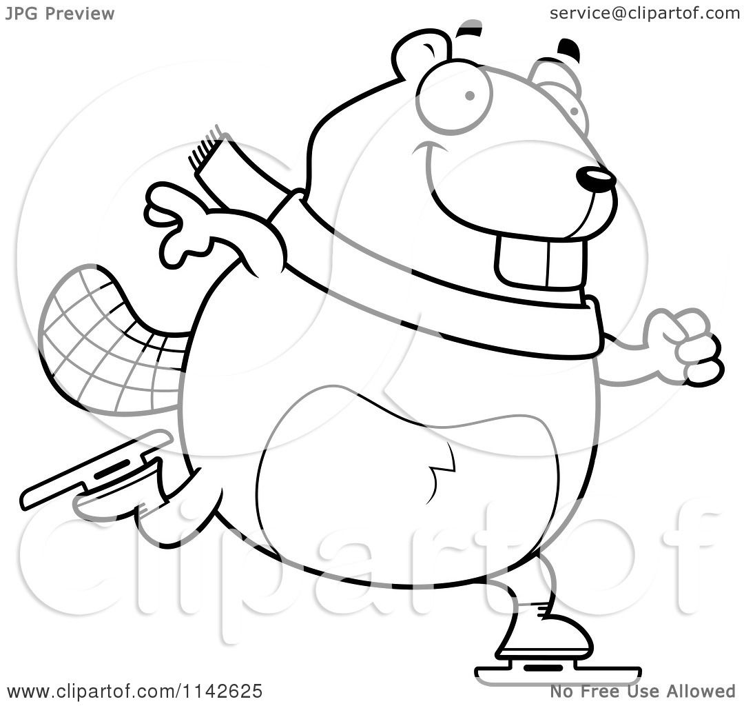 Cartoon-Clipart-Of-A-Black-And-White-Chubby-Beaver-Ice-Skating-Vector ...