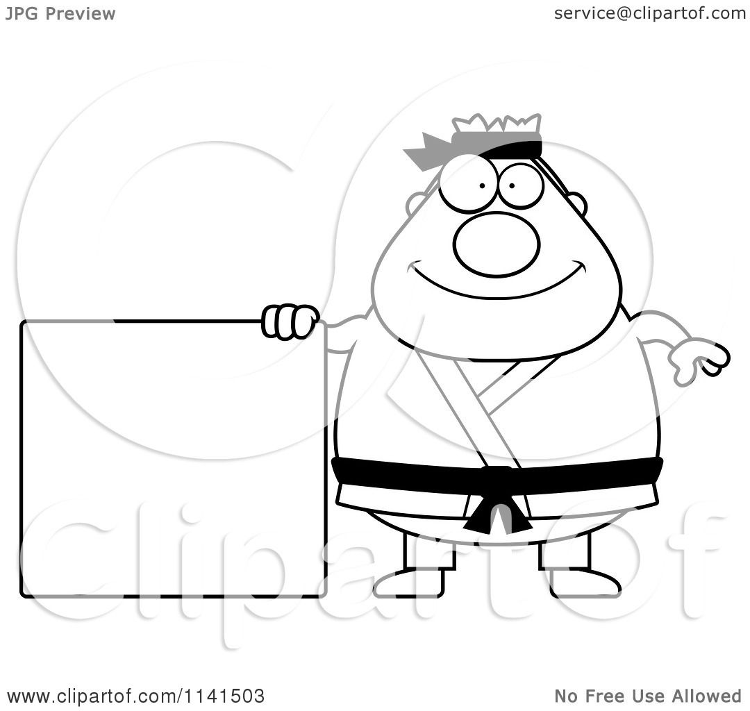 Free coloring pages karate - Cartoon Clipart Of A Black And White Chubby Black Belt Karate Man With A Sign Vector Outlined Coloring Page By Cory Thoman