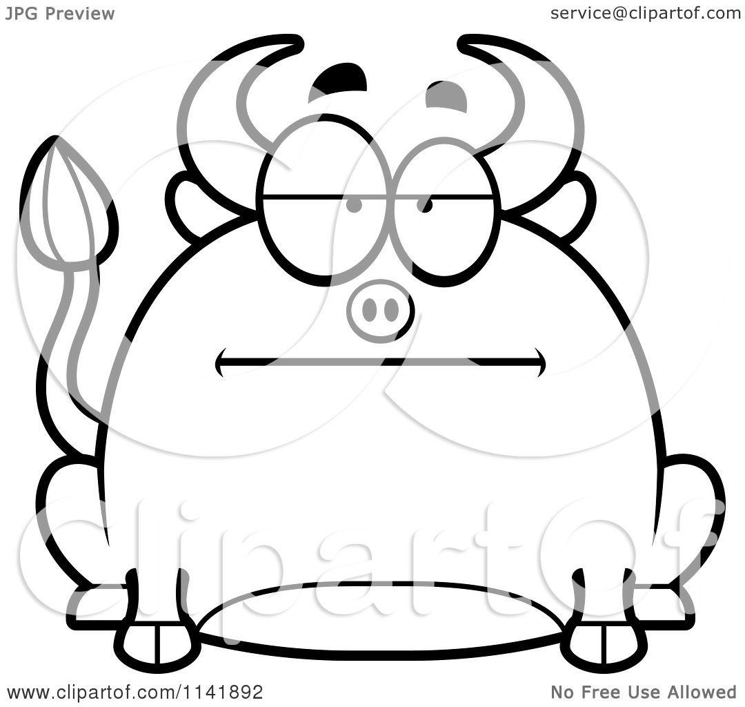 Cartoon Clipart Of A Black And White Chubby Bored Bull - Vector ...