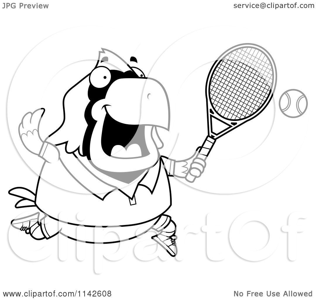 cartoon clipart of a black and white chubby cardinal playing