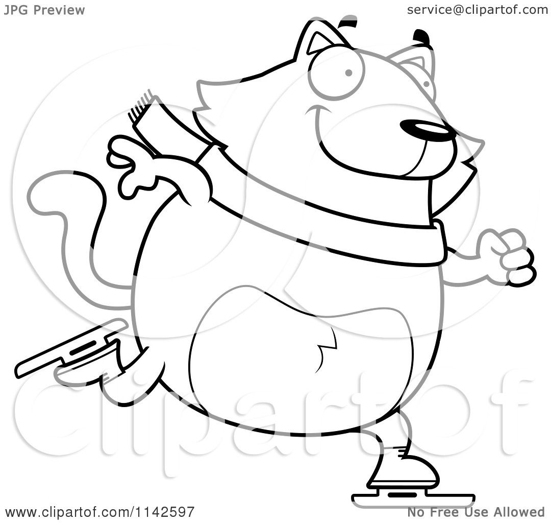Cartoon-Clipart-Of-A-Black-And-White-Chubby-Cat-Ice-Skating-Vector ...