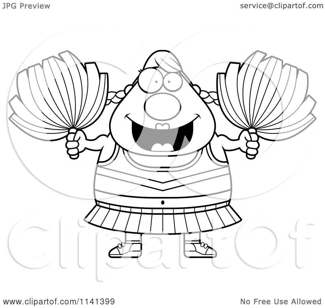 Cartoon clipart of a black and white chubby cheerleader vector outlined coloring page by cory