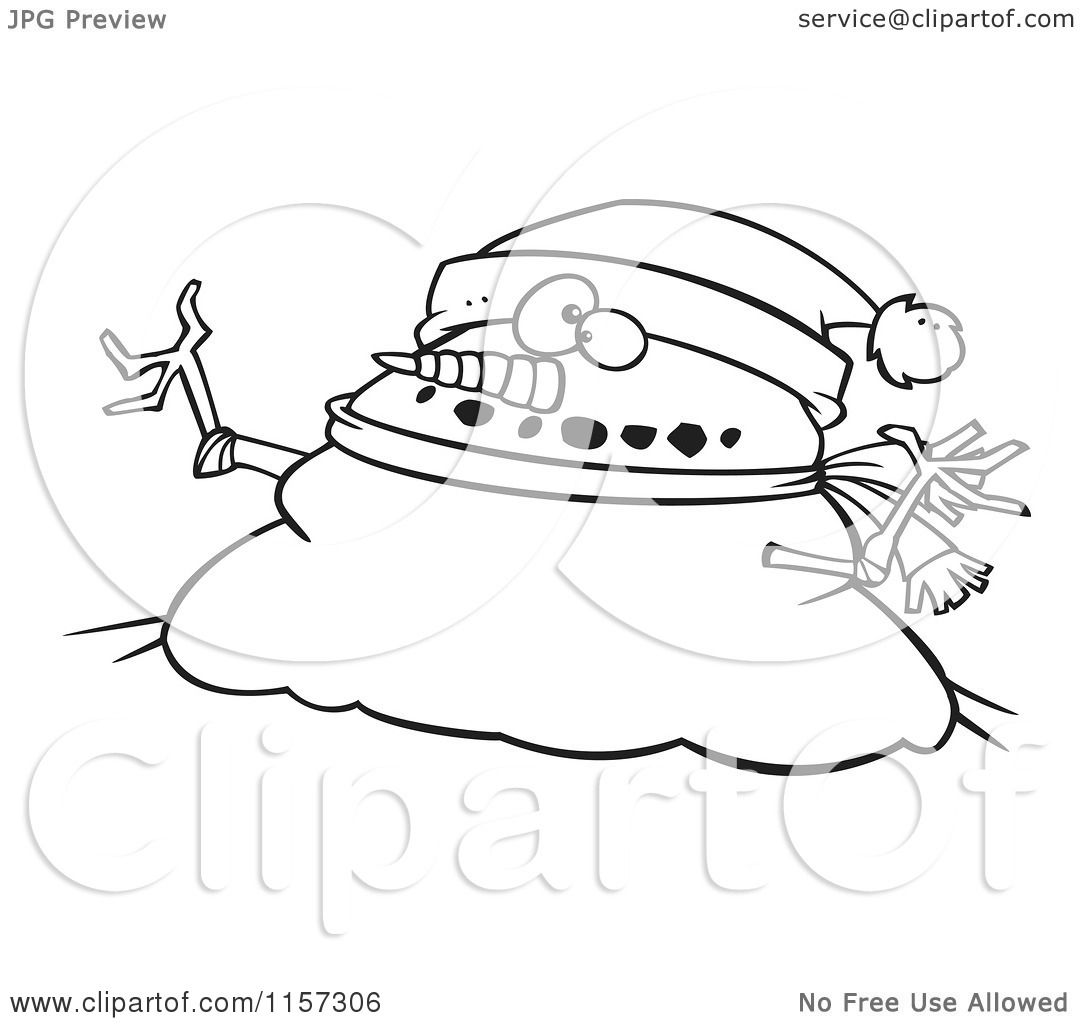 Cartoon Clipart Of A Black And White Chubby Christmas Snowman ...