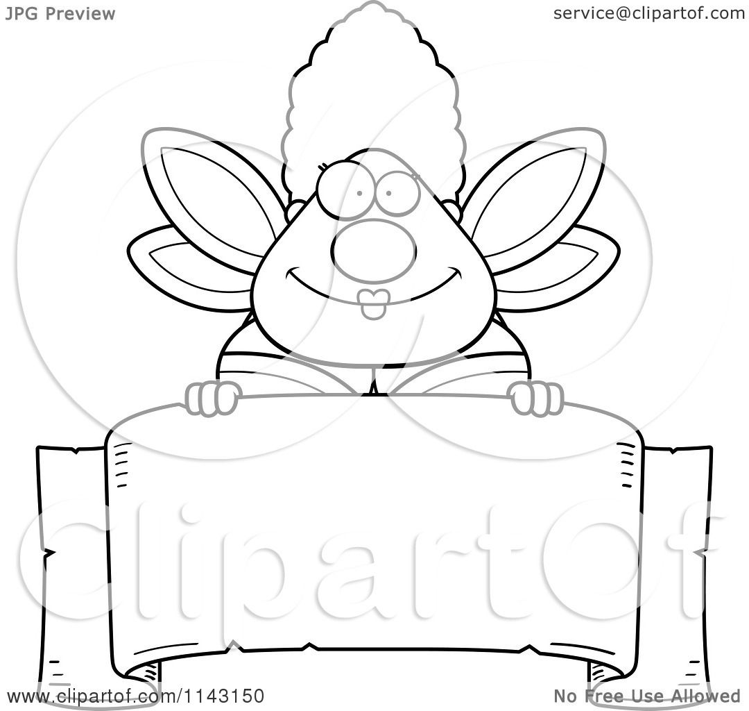 Cartoon Clipart Of A Black And White Chubby Fairy Godmother Over Blank Parchment Banner