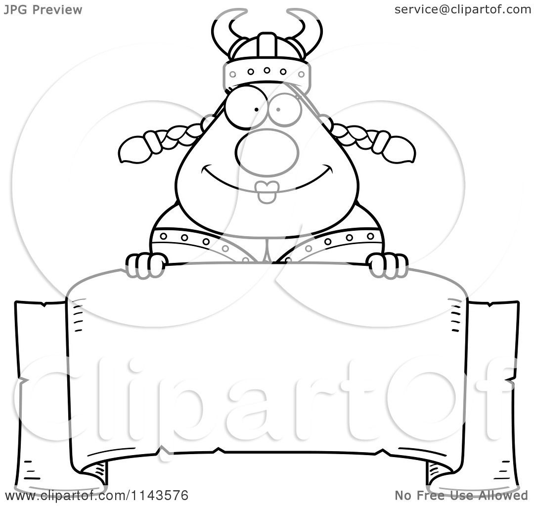 cartoon clipart of a black and white chubby female viking over a