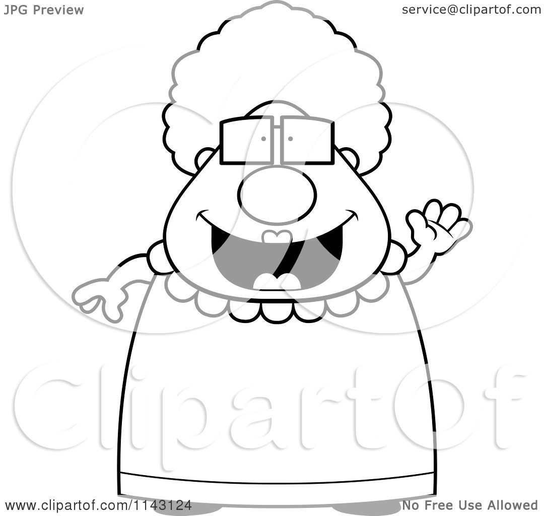 Cartoon Clipart Of A Black And White Chubby Granny Waving