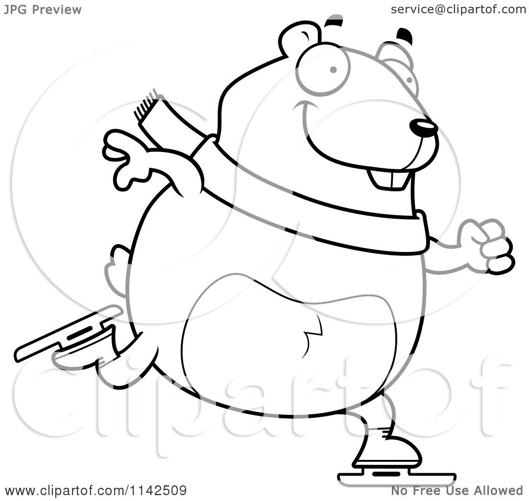 Cartoon-Clipart-Of-A-Black-And-White-Chubby-Hamster-Ice-Skating-Vector ...