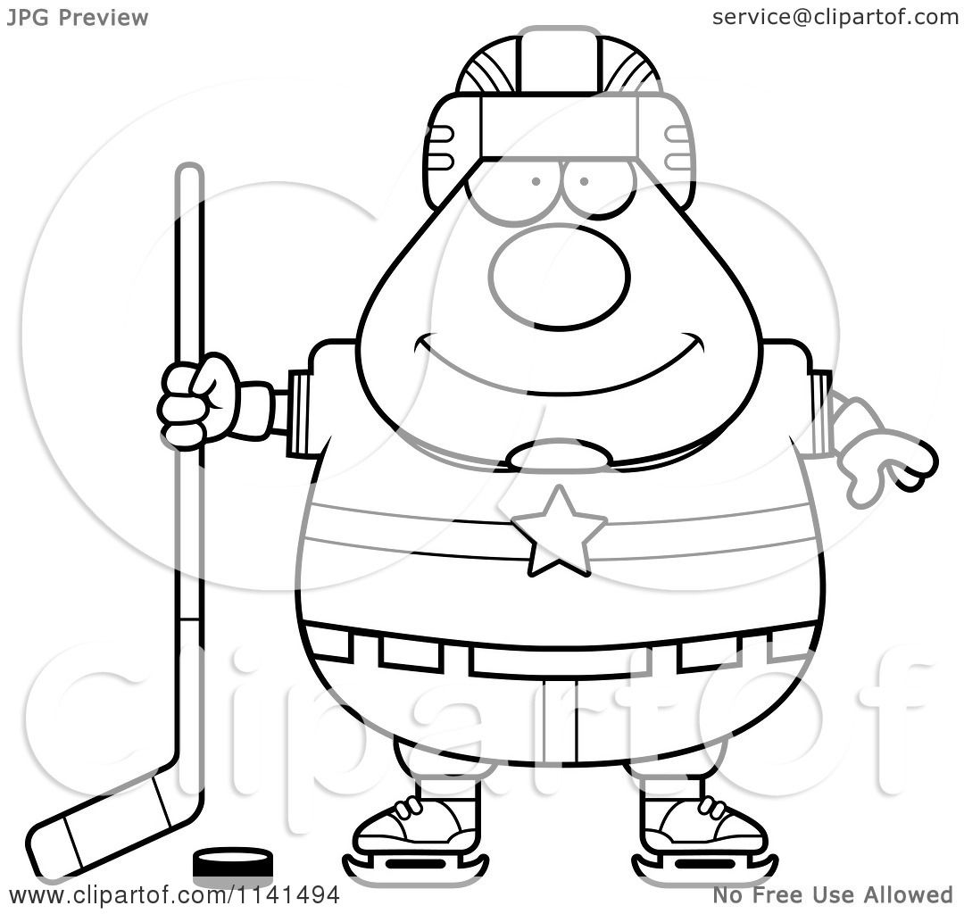 cartoon clipart of a black and white chubby hockey player man