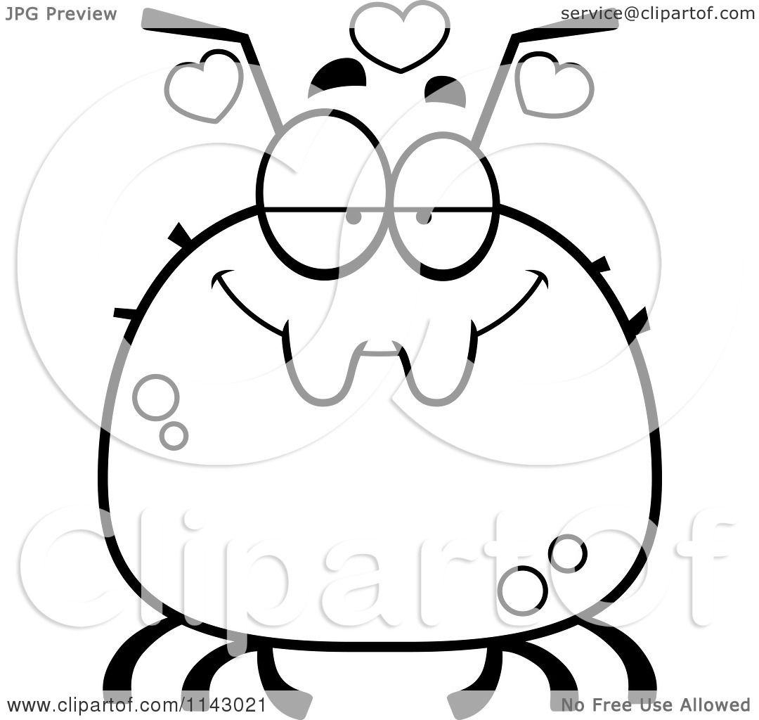 Cartoon-Clipart-Of-A-Black-And-White-Chubby-Infatuated-Tick-Vector ...