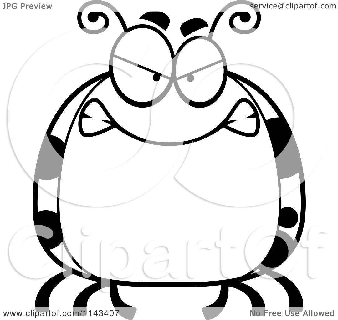 cartoon clipart of a black and white chubby mad ladybug vector