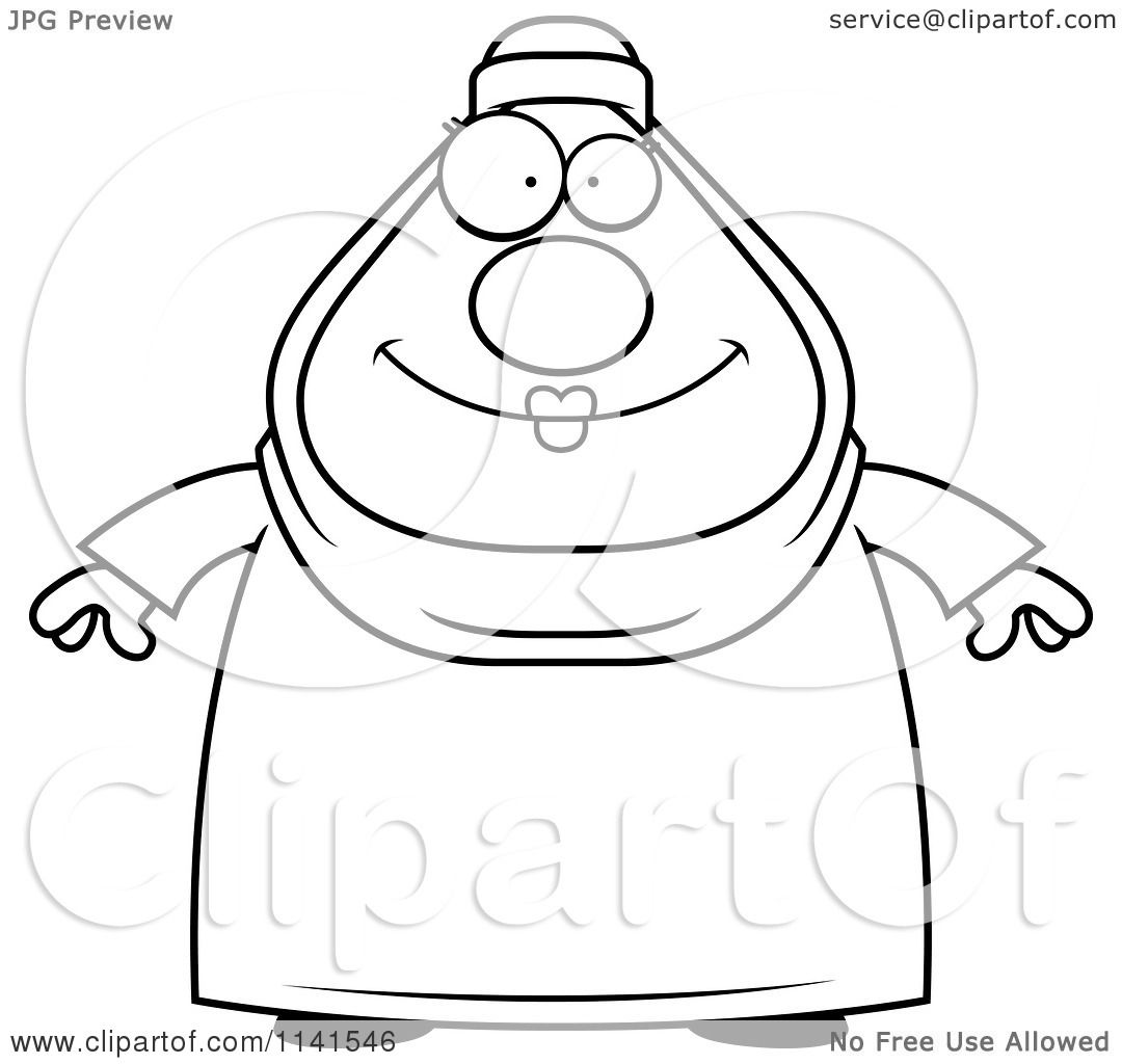 cartoon clipart of a black and white chubby muslim woman vector