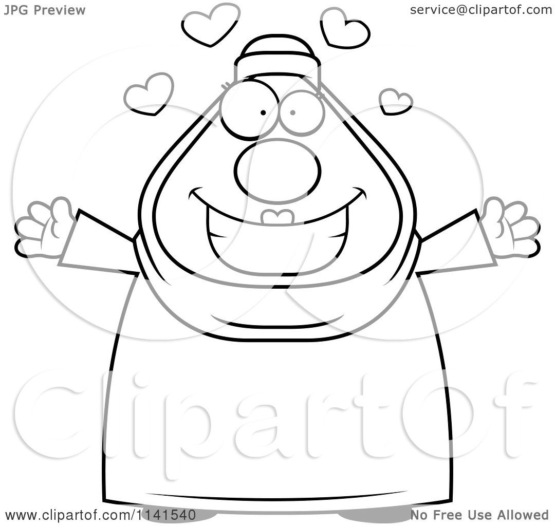 cartoon clipart of a black and white chubby muslim woman with open