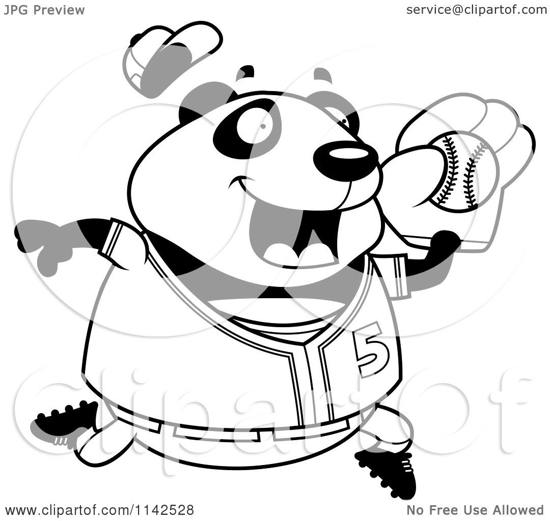 cartoon clipart of a black and white chubby panda playing baseball